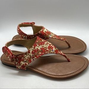 Kalli Collection Red & Cream Floral Flat Sandals